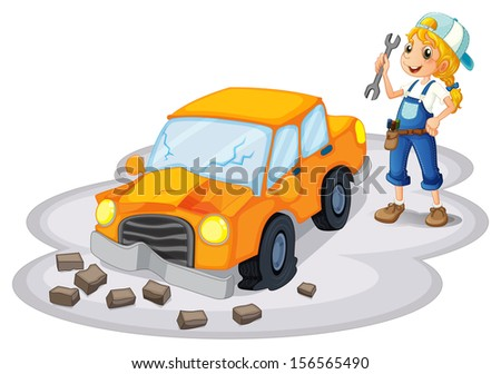 Illustration of a girl fixing a broken car on a white background - stock photo