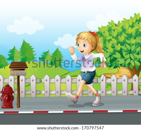 Illustration of a girl jogging at the street