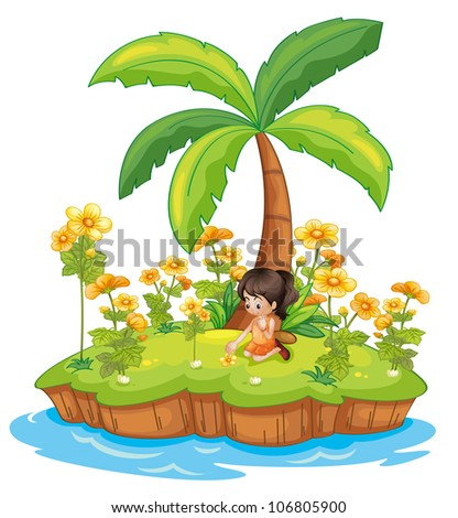Illustration of a girl on an island - stock photo
