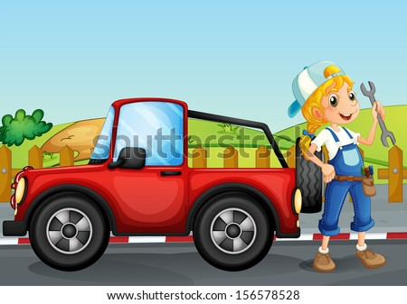 Illustration of a girl repairing the red jeep