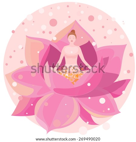 illustration of a girl sitting in the lotus. Girl sitting in the lotus position and meditates. - stock photo