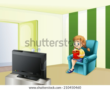 Illustration of a girl watching TV while eating - stock photo
