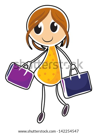 Illustration of a girl with two bags on a white background