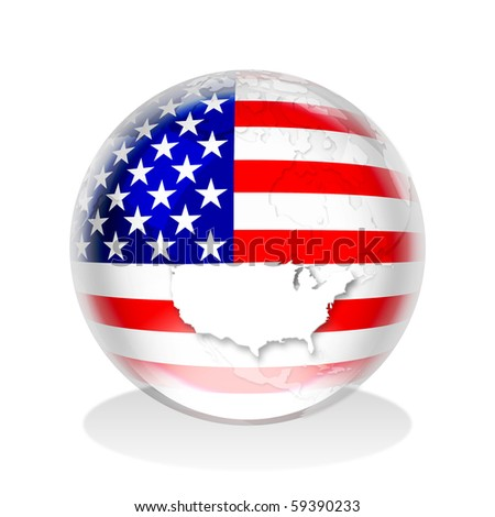 ilration of a gl sphere with american flag and map in it