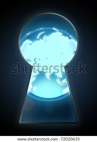 Illustration of a globe seen through a key hole - stock photo