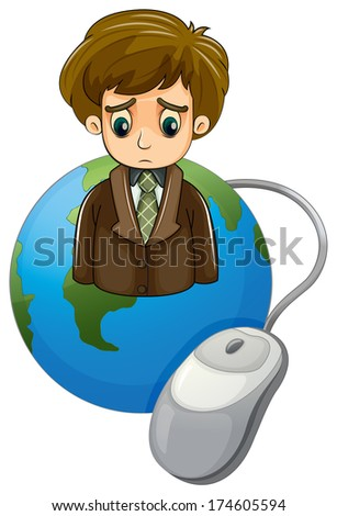 Illustration of a globe with a frowning businessman and a mouse on a white background - stock photo