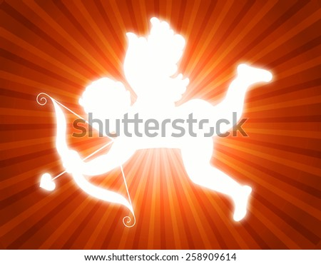 Illustration of a glowing cupid with its arrow on red and orange retro background