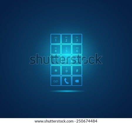 Illustration of a glowing mobile phone keypad design on a colorful background. - stock photo