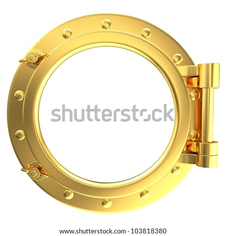 Illustration of a gold ship porthole - stock photo