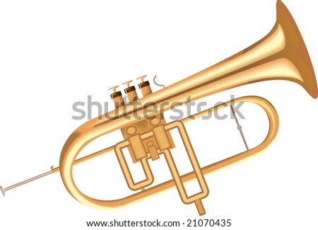 Illustration of a golden metallic bugle