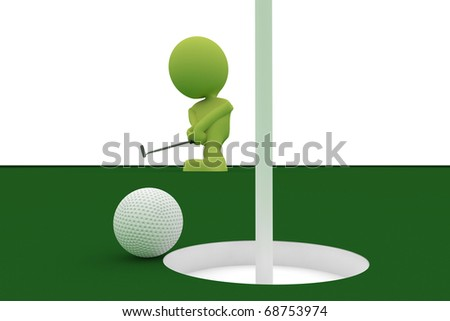 Illustration of a golf ball almost going in the hole with a man holding a putter in the background.  Part of my cute green man series. - stock photo