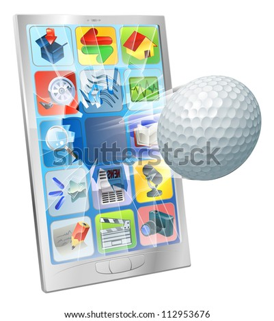 Illustration of a golf ball flying out of cell phone screen
