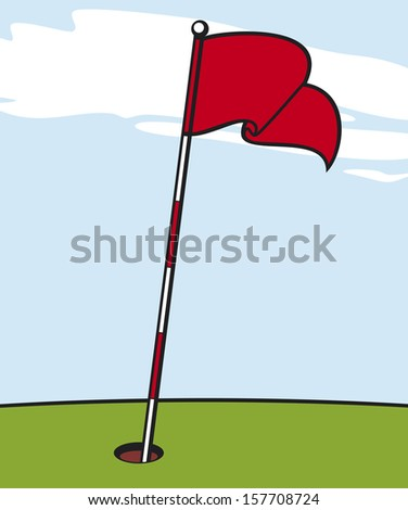 illustration of a golf flag - stock photo