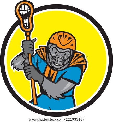 Illustration of a gorilla ape lacrosse player wearing helmet and holding lacrosse stick set inside circle on isolated background done in cartoon style.