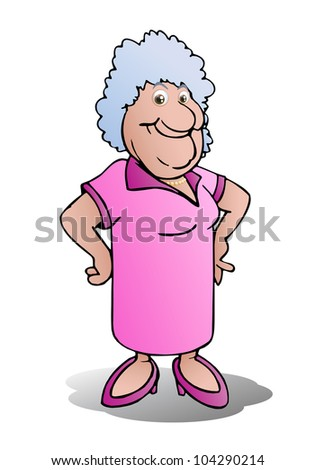 illustration of a grandmother stand on isolated white - stock photo