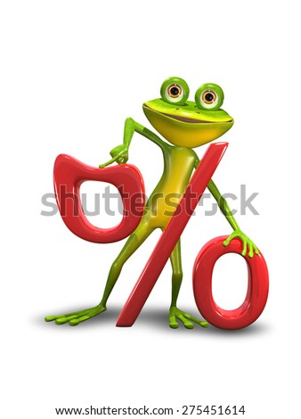 Illustration of a green cartoon frog and the percent sign - stock photo