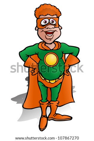 illustration of a green echo super hero with blank symbol on isolated white background - stock photo