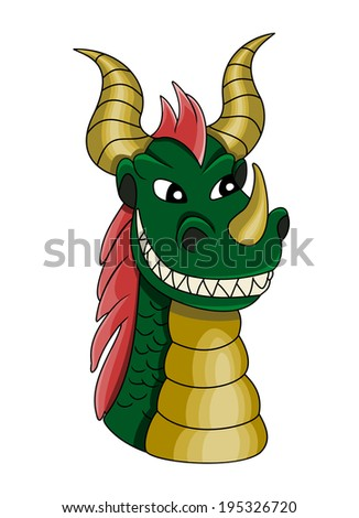 Illustration of a green evil looking dragon with red spiked hair and horns, fantasy creature design isolated on a white background,