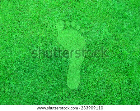 Illustration of a green footprint on a grass background.                                - stock photo