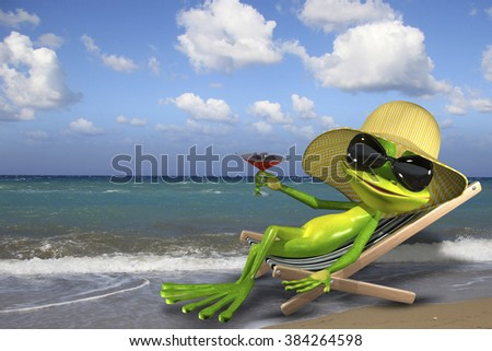 Illustration of a green frog in a deckchair on the beach http://photodune.net/item/seascape/5821268?s_rank=91
