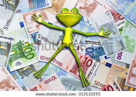 Illustration of a green frog in money