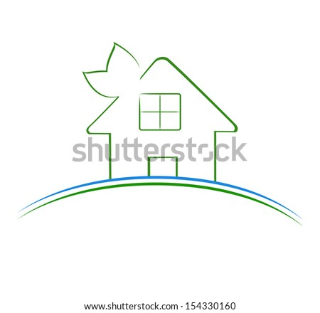 illustration of a green house icon  - stock photo