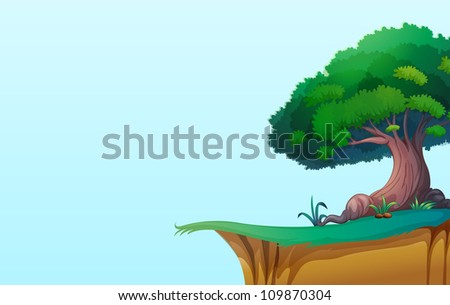 illustration of a green landscape on blue background - stock photo