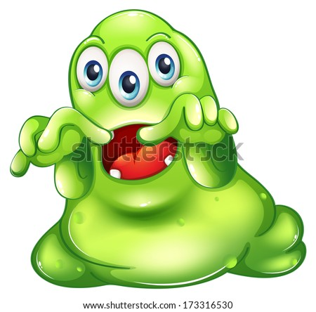 Illustration of a green monster in horror on a white background - stock photo