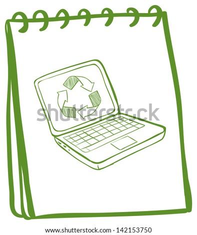 Illustration of a green notebook with a laptop at the cover page on a white background - stock photo