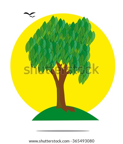 Illustration of a green tree with yellow sun - stock photo
