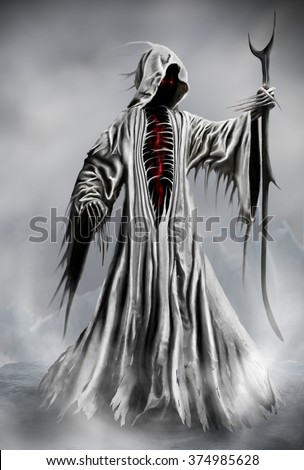 Illustration of a Grim Reaper or fantasy evil spirit. Digital painting. - stock photo