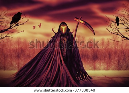 Illustration of a Grim Reaper or fantasy evil spirit with a forest background. Digital painting. - stock photo