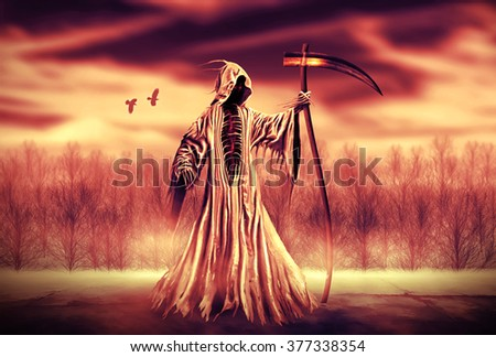 Illustration of a Grim Reaper or fantasy evil spirit with a forest background. Digital painting.