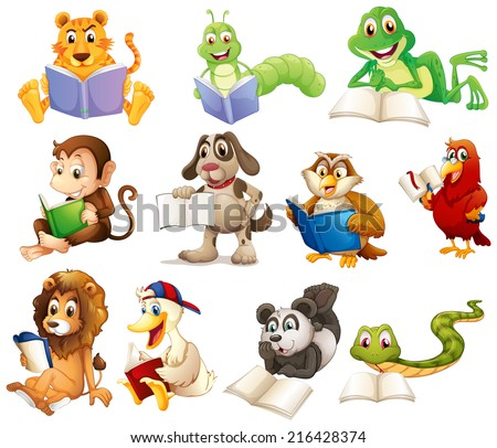 Illustration of a group of animals reading on a white background - stock photo