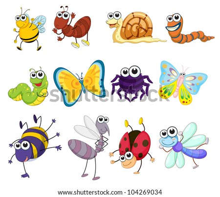 Illustration of a group of bugs - EPS VECTOR format also available in my portfolio. - stock photo
