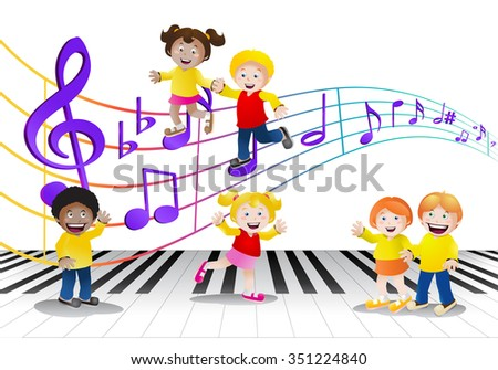 illustration of a group of children in front of isolated music notes background - stock photo