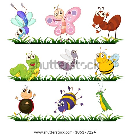 Illustration of a group of insects - stock photo