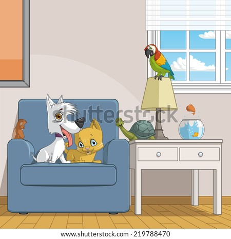 Illustration of a group of pets in home - stock photo