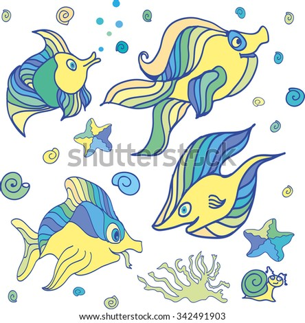 Illustration of a group of sea creatures on a white background