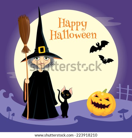 Illustration of a Halloween company: witch, black cat, pumpkin head and bats.