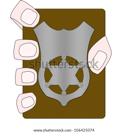 Illustration of a hand holding a blank police badge.Add your text on badge - stock photo