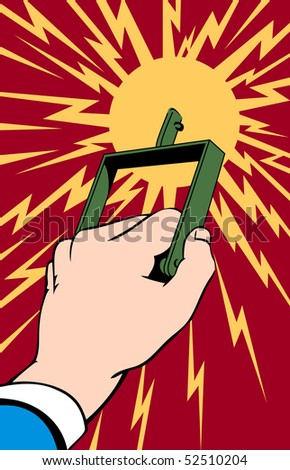 Illustration of a hand pulling a switch in a pop art/comic style - stock photo
