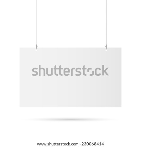 Illustration of a hanging sign isolated on a white background. - stock photo