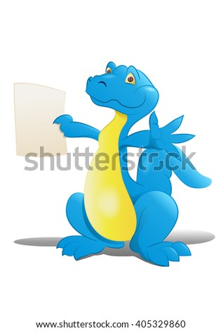 illustration of a happy big dinosaur hold blank paper on isolated white background - stock photo