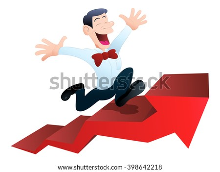 illustration of a happy businessman climbing ascending arrow on isolated white background