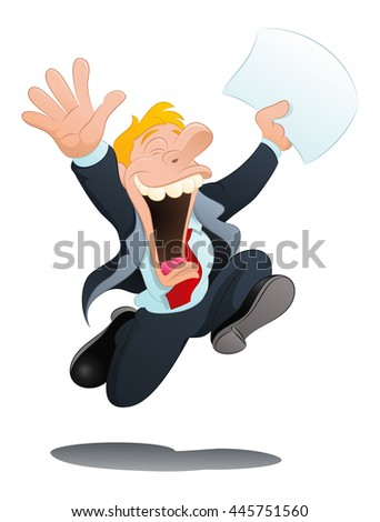 illustration of a happy businessman hold papers on isolated white background - stock photo