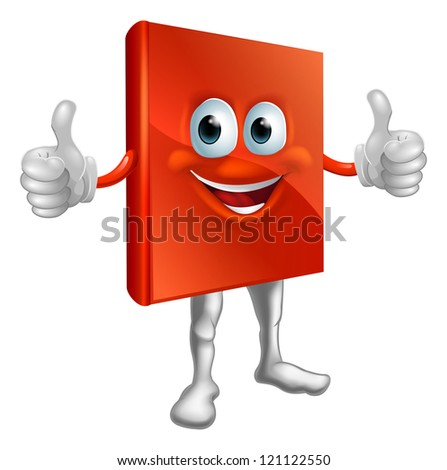 Illustration of a happy cartoon red book man doing a thumbs up - stock photo