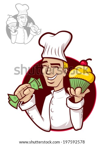 Illustration of a happy chef holding a cupcake and money