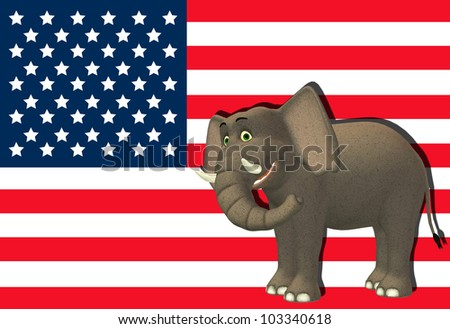 Illustration of a happy elephant in front of the flag of the united states of america