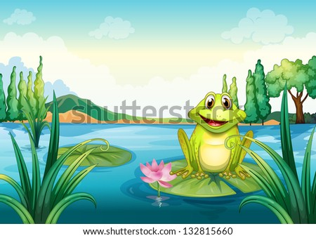 Illustration of a happy frog above a water lily